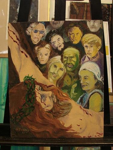 hugo sosa / jesucristo / oleo sobre tabla 50 x 40 cm # 1413