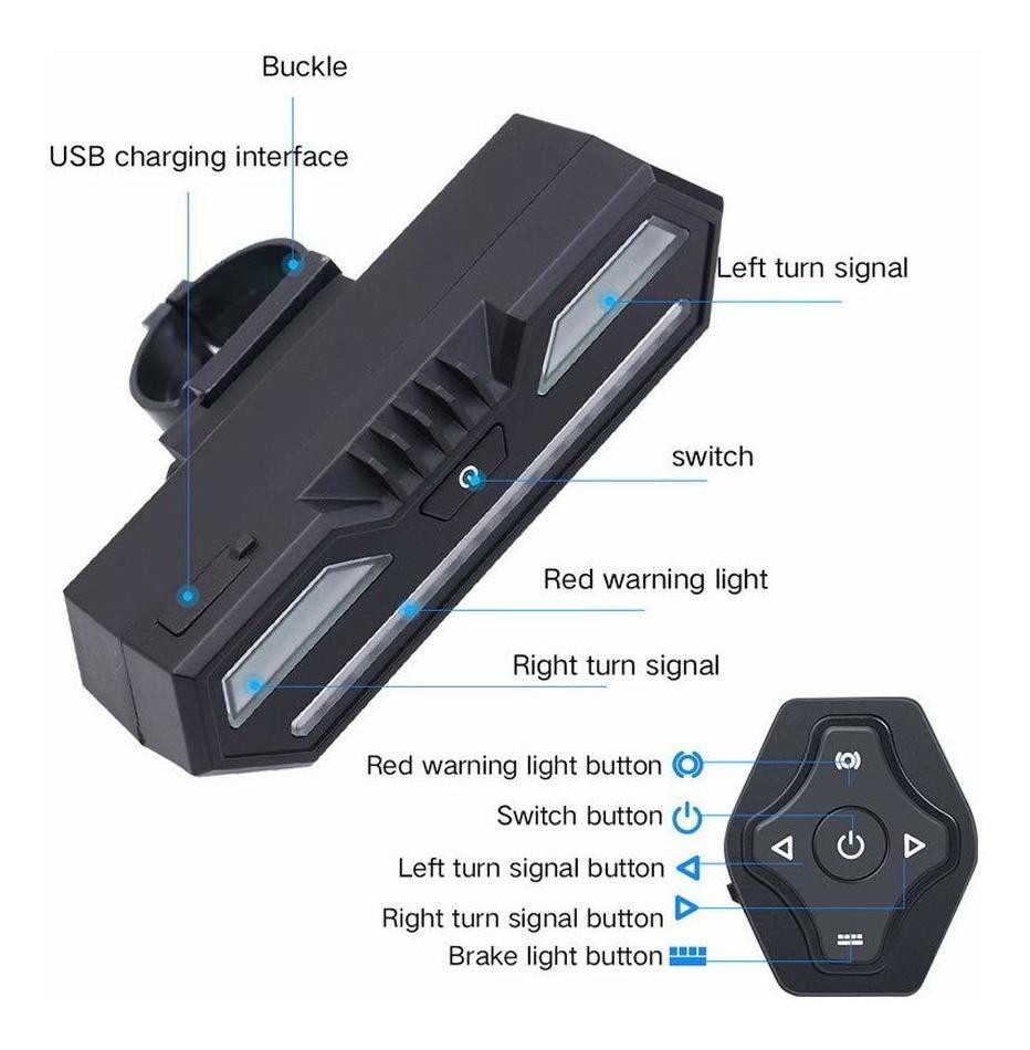 Señales giro bicicletas actualizadas control remoto inalámbrico luz trasera IPX4
