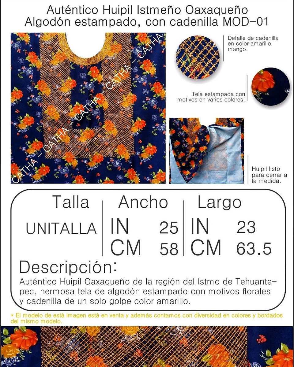 Huipil Istmeño Oaxaqueño - Algodón Estampado Con Cadenilla ...