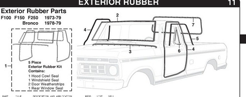 hules puertas kit completo pick up ford  1970 al 1979 import