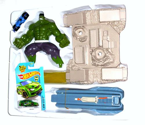 hulk city attack pista de autos + 1 hot wheels de regalo