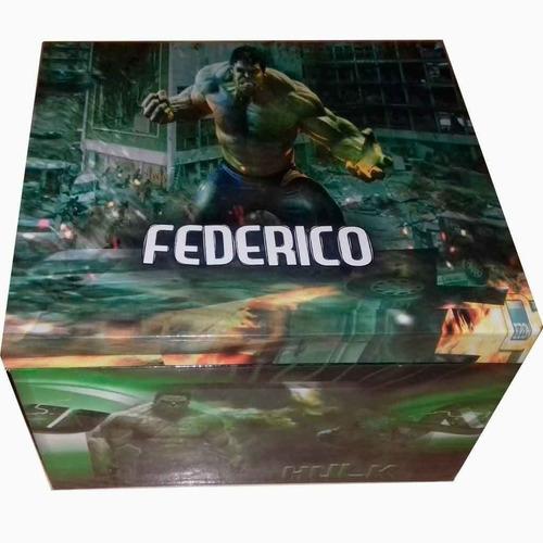 hulk cofre de madera personalizado. (34x11x10)