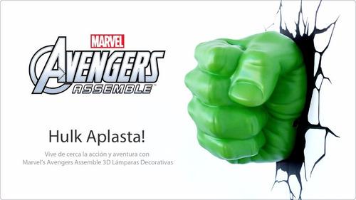 hulk puño lámpara de noche 3d marvel