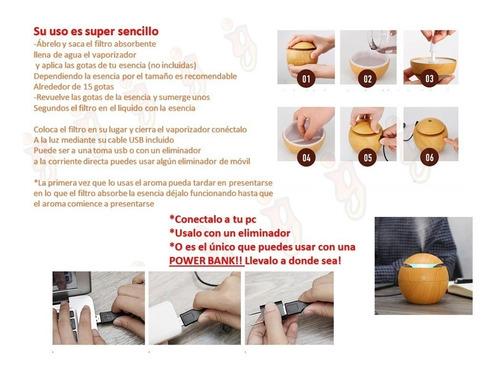 humidificador difusor aromaterapia con luz led touch