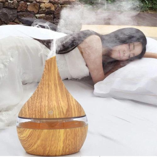 humidificador madera ultrasonico luz led vaporizador oms