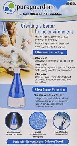 humidificador ultrasonico de vapor frio pureguardian h920bl