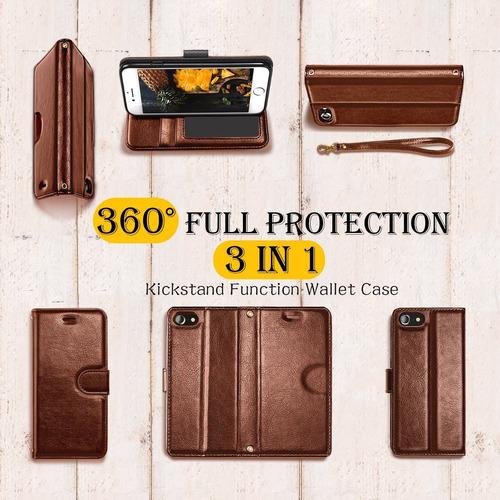 humixx 3-en-1 iphone 8 funda billetera, iphone 7 funda, hech