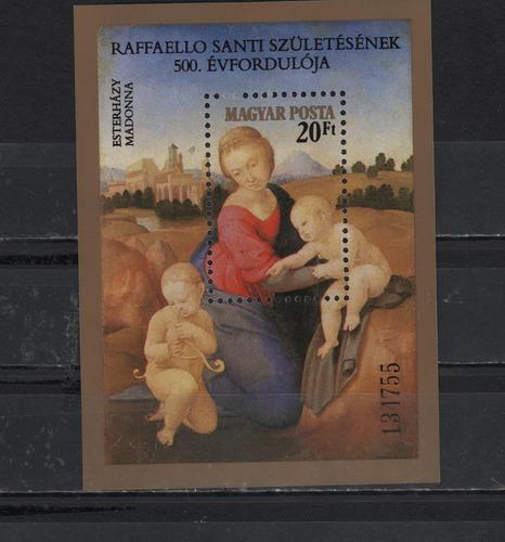 hungría 1983 hoja souvenir la virgen del prado de rafael