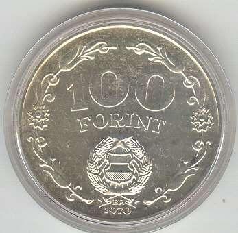 hungria - moeda de 100 florint, prata .640, 1970, (fc).