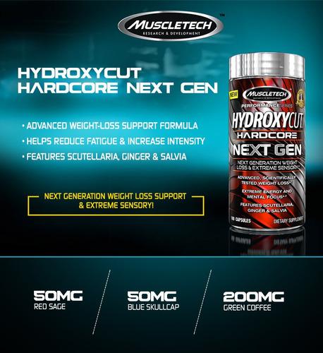 hydroxycut hardcore next gen quemador de grasa 100 capsulas