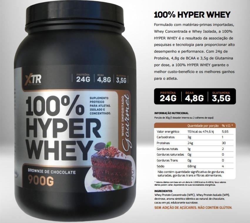 2cbe7bf97 Características. Marca XTR Nutrition  Tipo de suplemento Whey protein  Nome  100% Hyper Whey - 900g ...