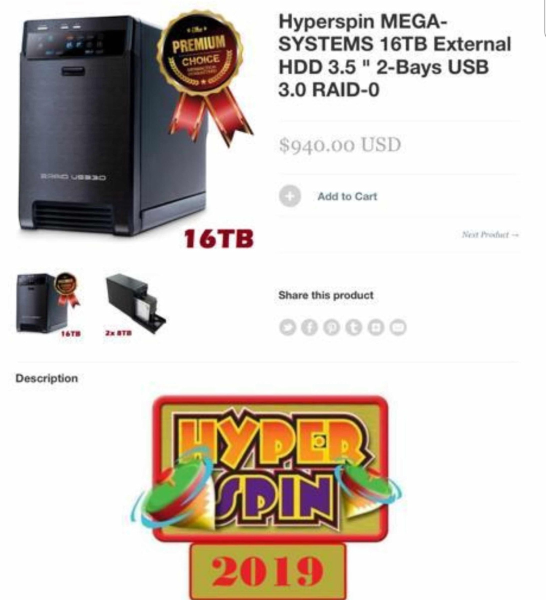 Hyperspin Mega-systems 16tb External Hdd - $ 15,500 00