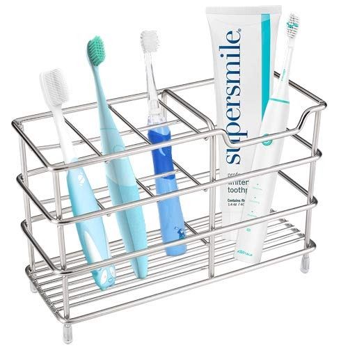 Yishik Multifuncional 2 Unidades Soporte de Metal para cepillos de Dientes Organizador de 5 Ranuras para cepillos de Dientes de ba/ño con escurridor de Agua