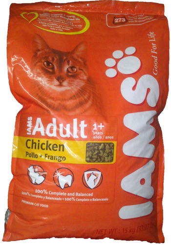 iams cat chicken x 15kg (gato adulto) envio gratis tp-