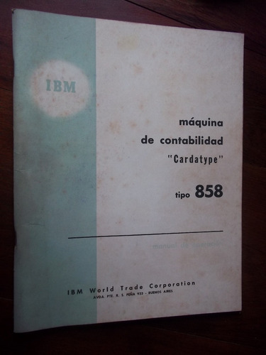 ibm 858 antiguo manual cardatype maquina contable la plata