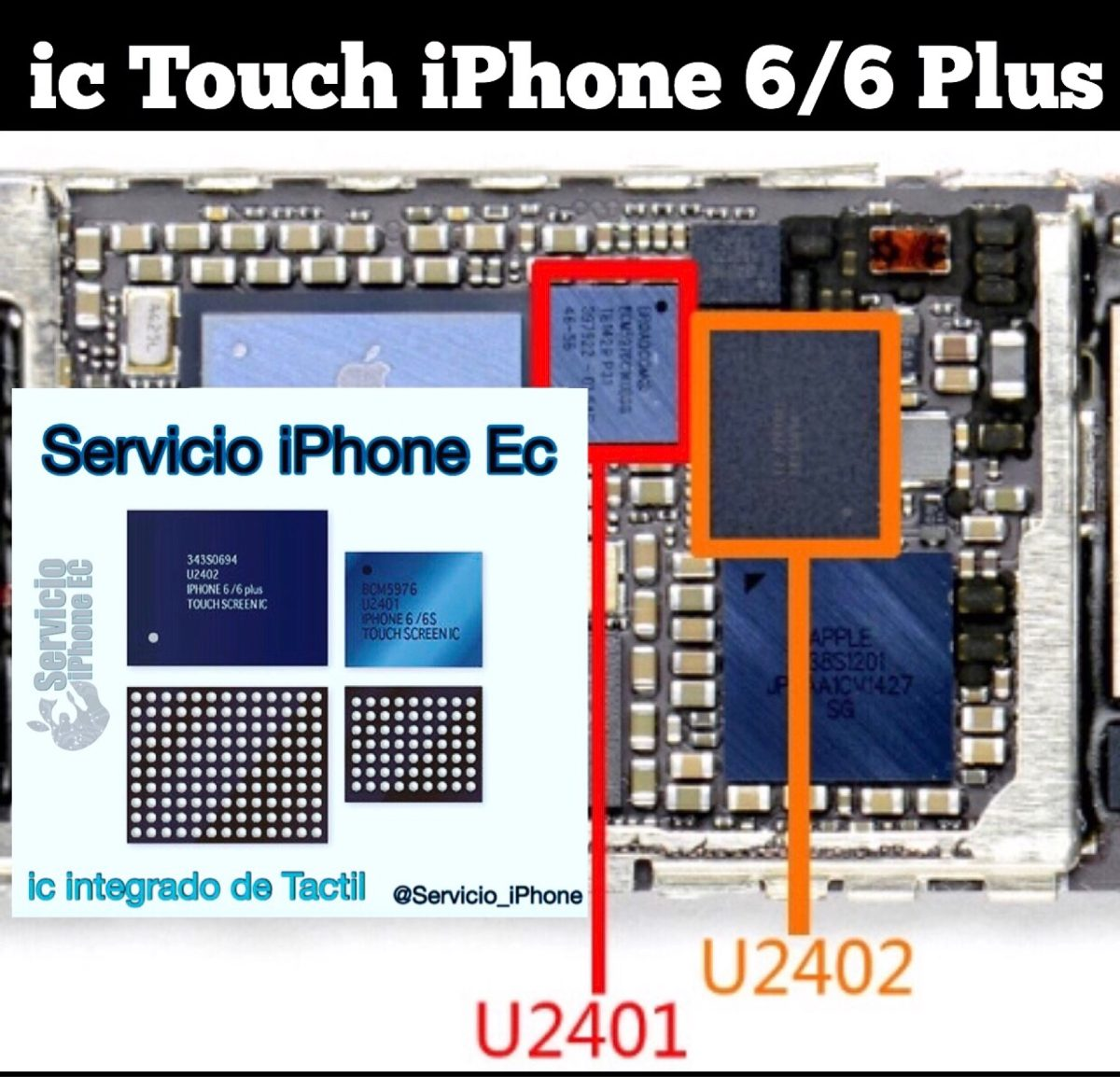 low priced 728e3 f1d0f Ic U2401 U2402 Tactil Touch iPhone 6 6plus