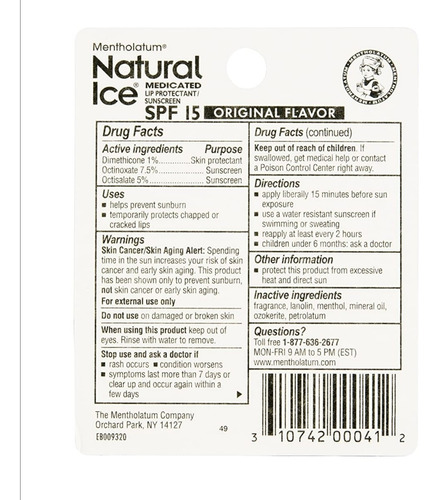 ice natural. protector labial spf 15