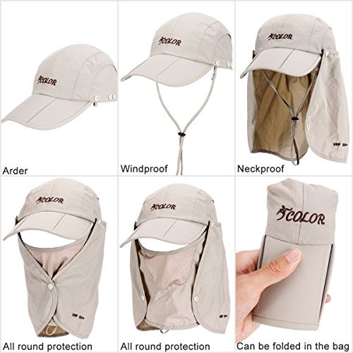 Icolor Sun Caps Flap Hats Uv 360° Solar Protection Upf 50+ ... f55b584d324d