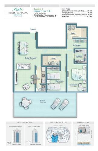 icon brava, 2 dormitorios, 2 baños, imponente vista a la brava, disponible segunda febrero 2018