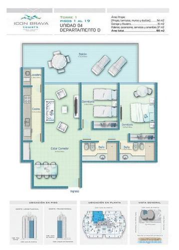 icon brava, 2 dormitorios, muy bien equipado, capacidad para 6 personas, febrero 2018 disponible!!