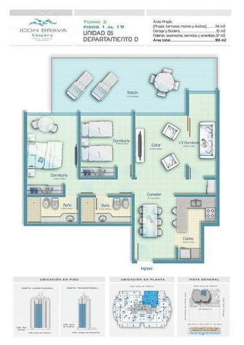 icon brava, 2 dormitorios y medio, 2 baños, equipado, garage