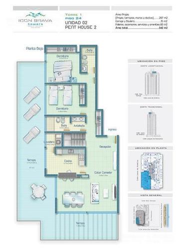 icon brava, imponente pent-house duplex, 2 dormitorios, parrillero propio