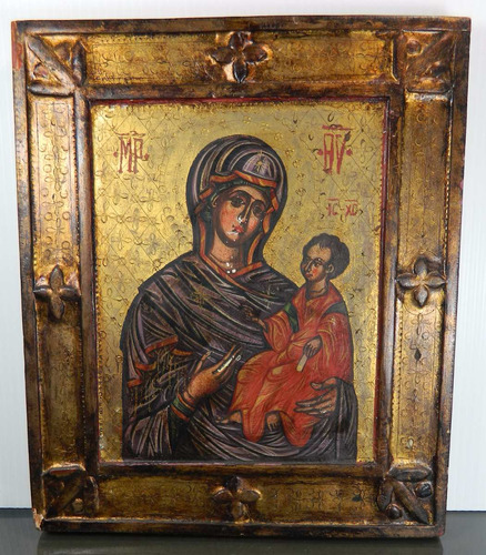 icono ortodoxo probablemente ruso virgen niño dios siglo 20