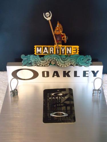 iconos lentes oakley para gorra (par) plata/negro original