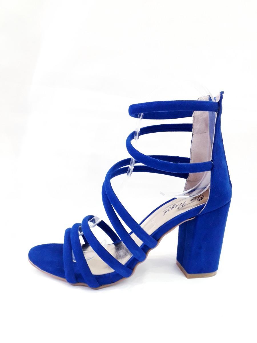8cm Guerrero Gamuza Sandalia Tiras Azul Tacon Id3008 Liz XwOkilPZuT