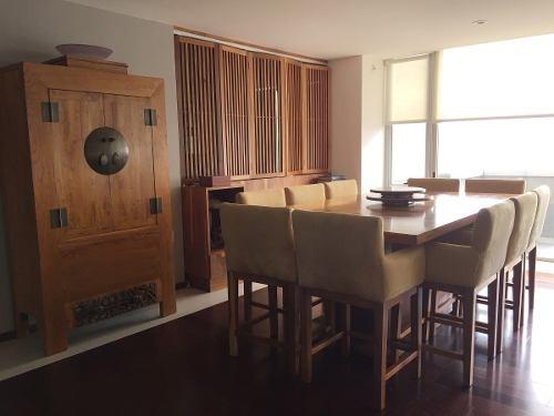 id:80364, se vende en infiniti santa fe departamento amueblado, con muebles del mejor gusto y calidad, moderno, con preciosa vista y terraza.cuenta con amplia estancia de sala - comedor, con terraz