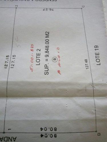 id:95697, 9,848 m.2  terreno plano se entrega desmontado, posteria de luz frente a terreno80 mts. de frente por 127 de fondoescriturado   para mayores informes con sergio caldera - tels: 81 8363 32