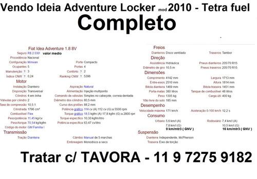 ideia adventure locker 1.8 2010 gnv 9mt excelente unico dono