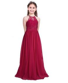 Iefiel Vestido De Niña Dama De Honor Fiesta Xv Boda Burgundy