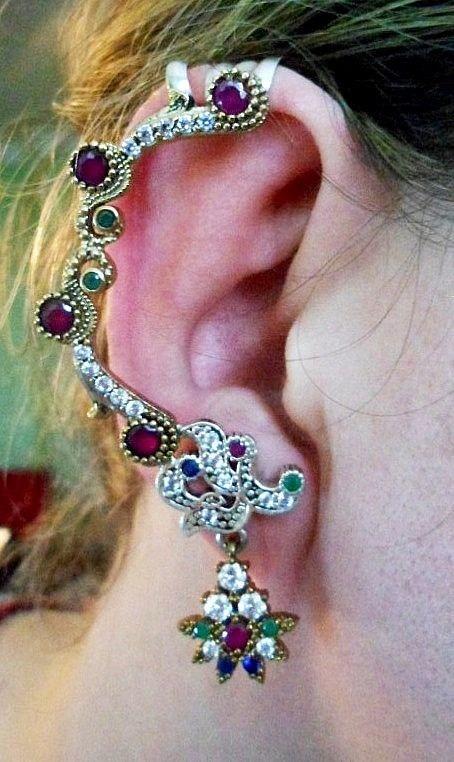 Iew-brinco Ear Cuff Prata 925 Cristal Rubi Safira Esmeralda - R  98 ... c2e9145d4f