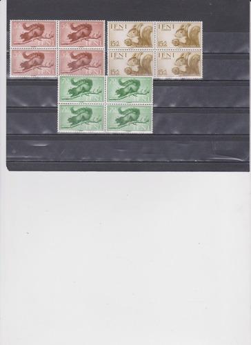 ifni 1955 stamp day squirrel 3 blocks of 4 ardillas