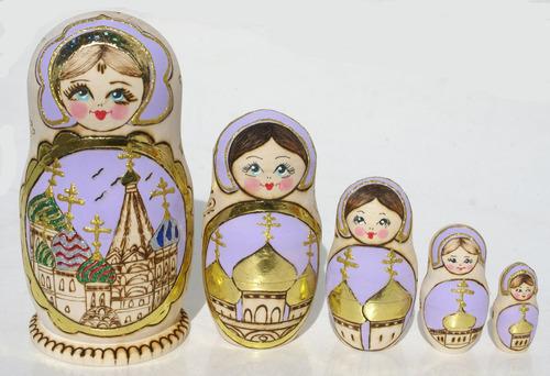 iglesias muñecas rusas de madera matrioska de rusia, set 5pc