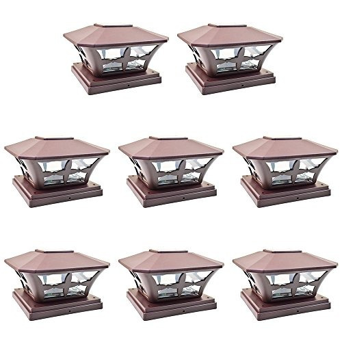 iglow 8 pack marrón jardín al aire libre 6 x 6 solar smd led