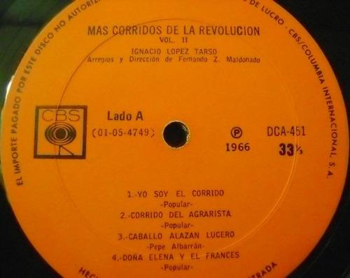 ignacio lopez tarso / mas corridos 1 disco  lp vinilo