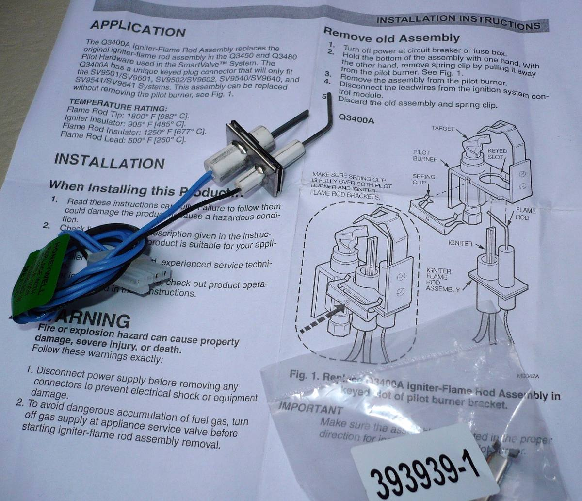 Ignitor Incandescente Honeywell Q3400a Para Válvulas Smart Valve Modelos  Sv9501 Y Sv9541