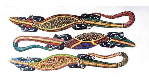iguana de madera pintada cuadro 100cm  deco moderno 106.020060