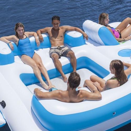 ilha  flutuante inflável thaiti gigante 6 pessoas