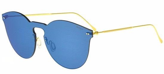 444fe40e5259d Illesteva Leonard Mask 2 Haste Dourada Lente Azul Espelhada - R ...