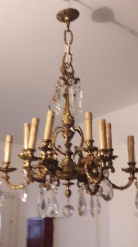 iluminacion, araña de bronce de 12 luces, tipo españa classi