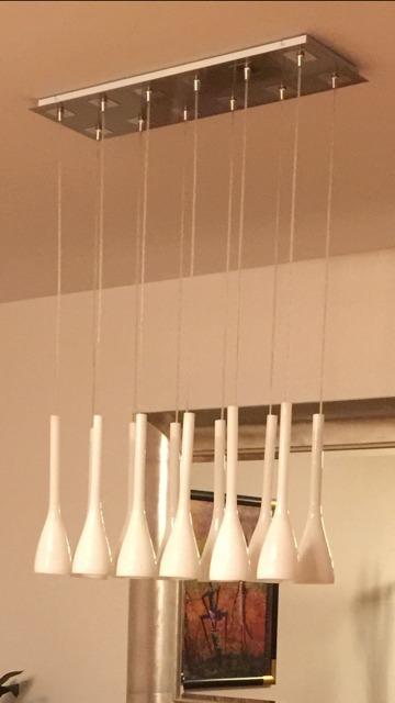 Iluminacion Colgante Fina Para Comedor, 12 Luces De Cristal ...