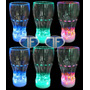 6 Vasos Led Luminosos Grande Reutilizables Cotillon Fluor