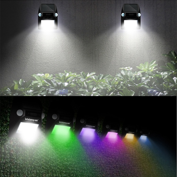 Iluminacion Exterior Panel Solar Led Rgb Sensor Pared