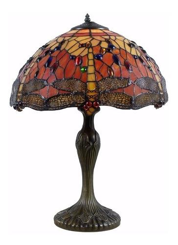 iluminación lampara de mesa tiffany libélula naranja 152