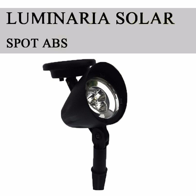 iluminacao jardim solar:Iluminação Jardim Luminaria Solar Refletor Led Spot Kit C/2 – R$ 106