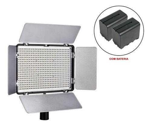iluminador led mamen km-600a com 2 baterias e carregador