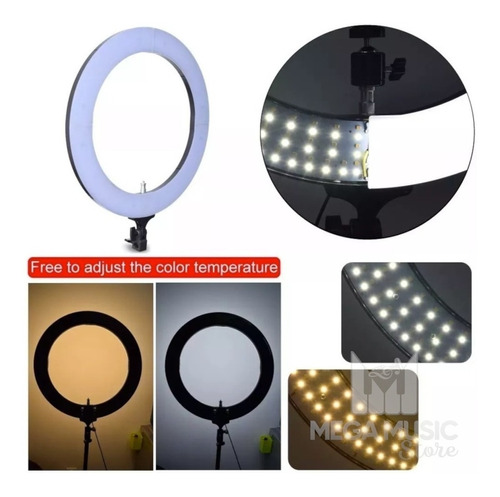 iluminador led ring light 19 pol 336 leds foto make